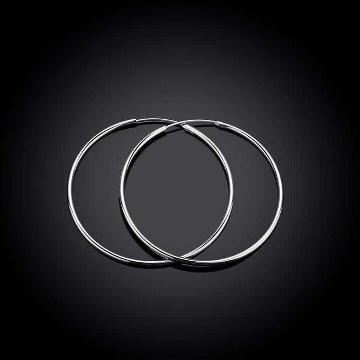 Earrings White Gold Plated Classic Hoop 5mm