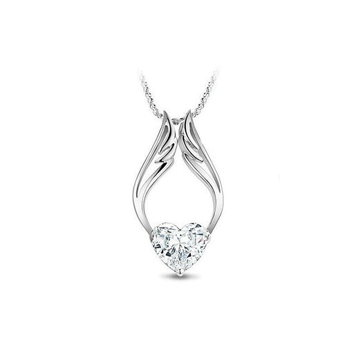 Necklace 18K White Gold Plated Guardian Angel Made with Swarovski Crystal