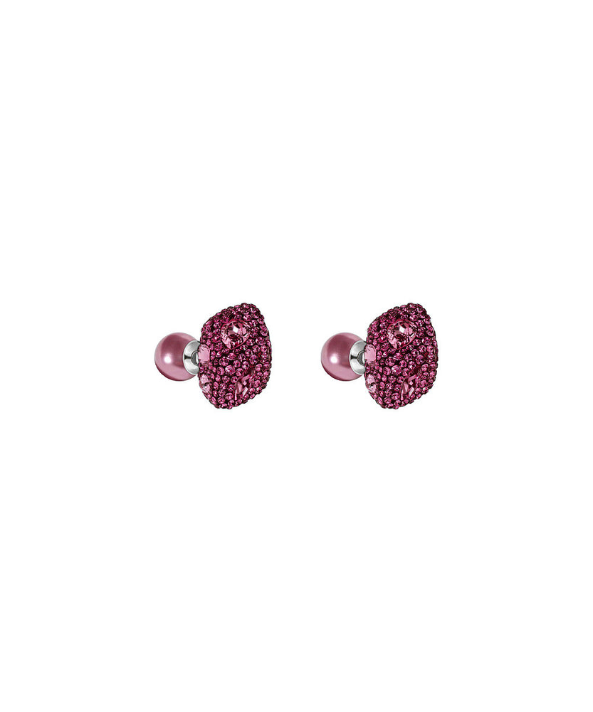 Earrings Made with Swarovski Crystal Double Stud - Pink