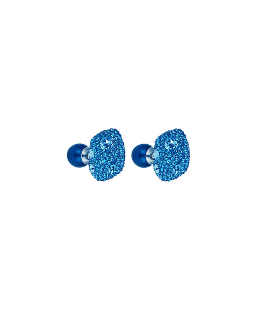 Earrings Made with Swarovski Crystal Double Stud Earring - Blue