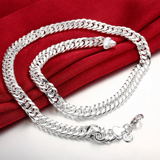 Necklace 18K White Gold Plated Figaro Chain