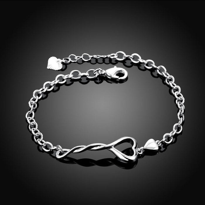 Bracelet 18K White Gold Plated Heart Twist