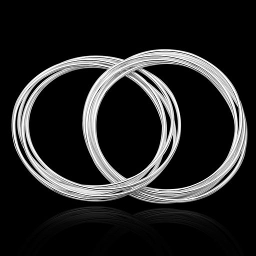 Bangle White Gold Plated 8 PC Stacking Solid