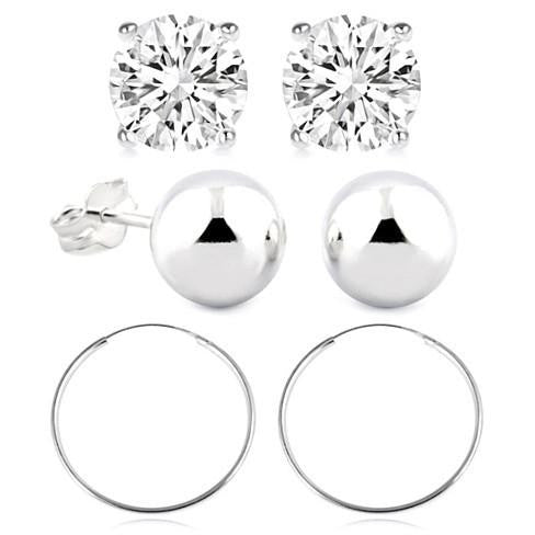 Earring Set Sterling Silver Essential Ball and Hoop