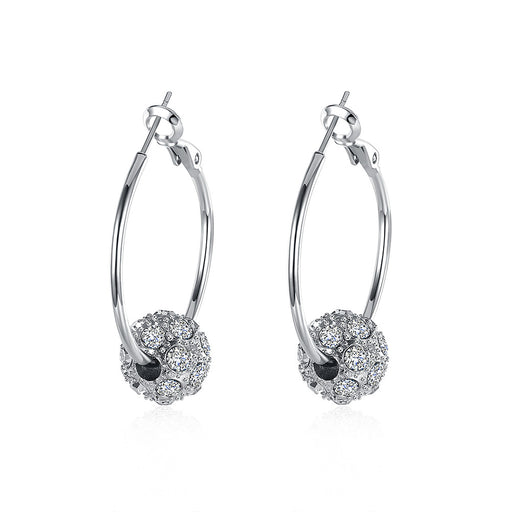Earrings Swarovski Crystal Pave Ball 3mm Hoop in White, Rose or Yellow Gold
