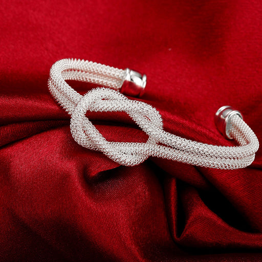 Bangle White Gold Plated Love Knot Mesh