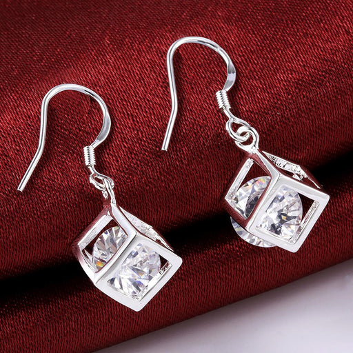 Earrings Swarovski Crystal Rubix Cube Drop in White Gold Plated
