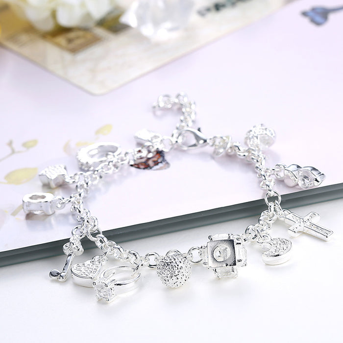 Bracelet 18K White Gold Plated with Swarovski Crystal Charms