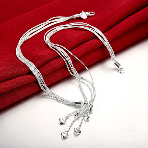 Necklace 18K White Gold Plated Heart Drop