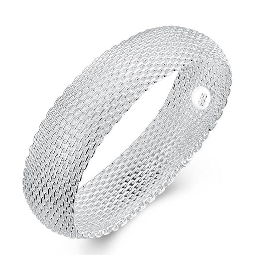 Bangle 18K White Gold Plated Mesh