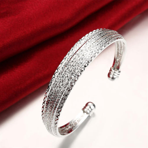 Bangle X Diamond Cut in 18K White Gold Plated
