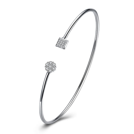 Bangle Swarovski Crystal Geo Adjustable in 18K White Gold Plated