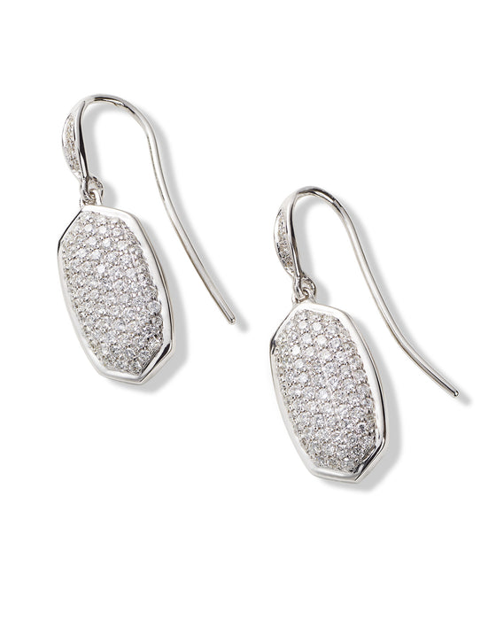 Earrings 18K White Gold Plated Pave Drop Made with Swarovski Crystal