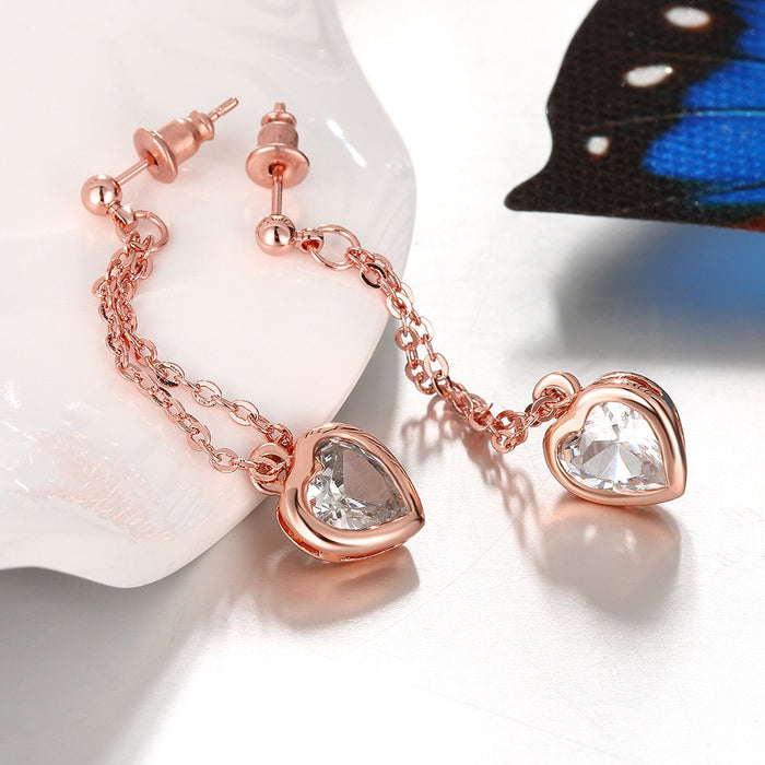 Earrings Rose Gold Heart Drop White Topaz