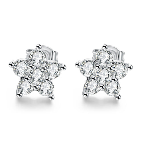 Earrings 18K White Gold Plated Flower Studded