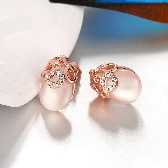 Earrings Ceramic Glass Rose Gold Plate Studs