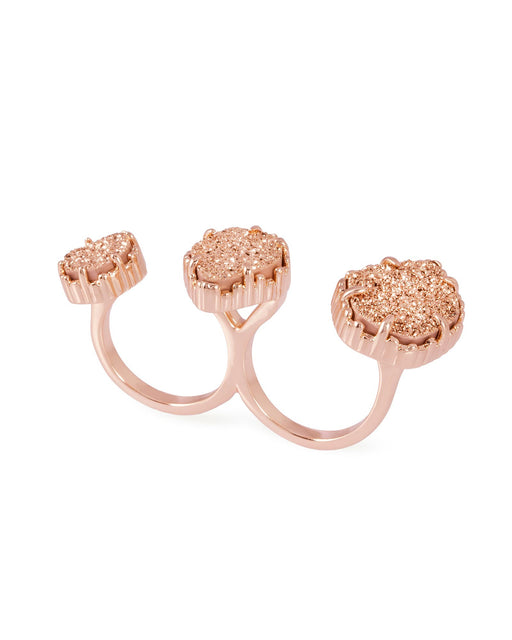 Knuckle Ring Rose Gold Plated with Orange Druzy Stone
