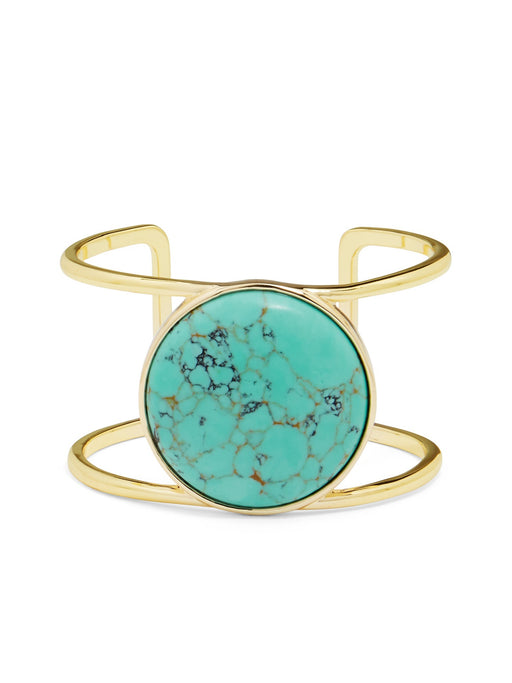 Bangle 18K Gold Plated Turquoise Center Stone