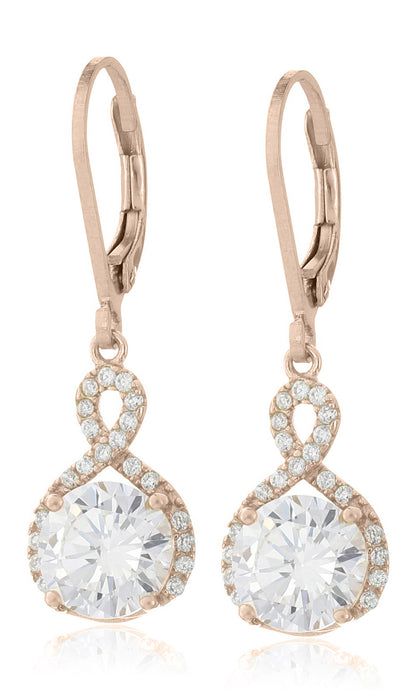 Earrings Swarovski Infinity Crystal Drop Rose Gold