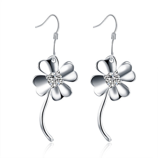 Earrings 18K White Gold Plated Curved Clover