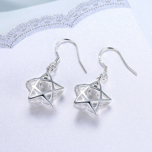 Earrings 18K White Gold Plated Filled In Stars Shaped