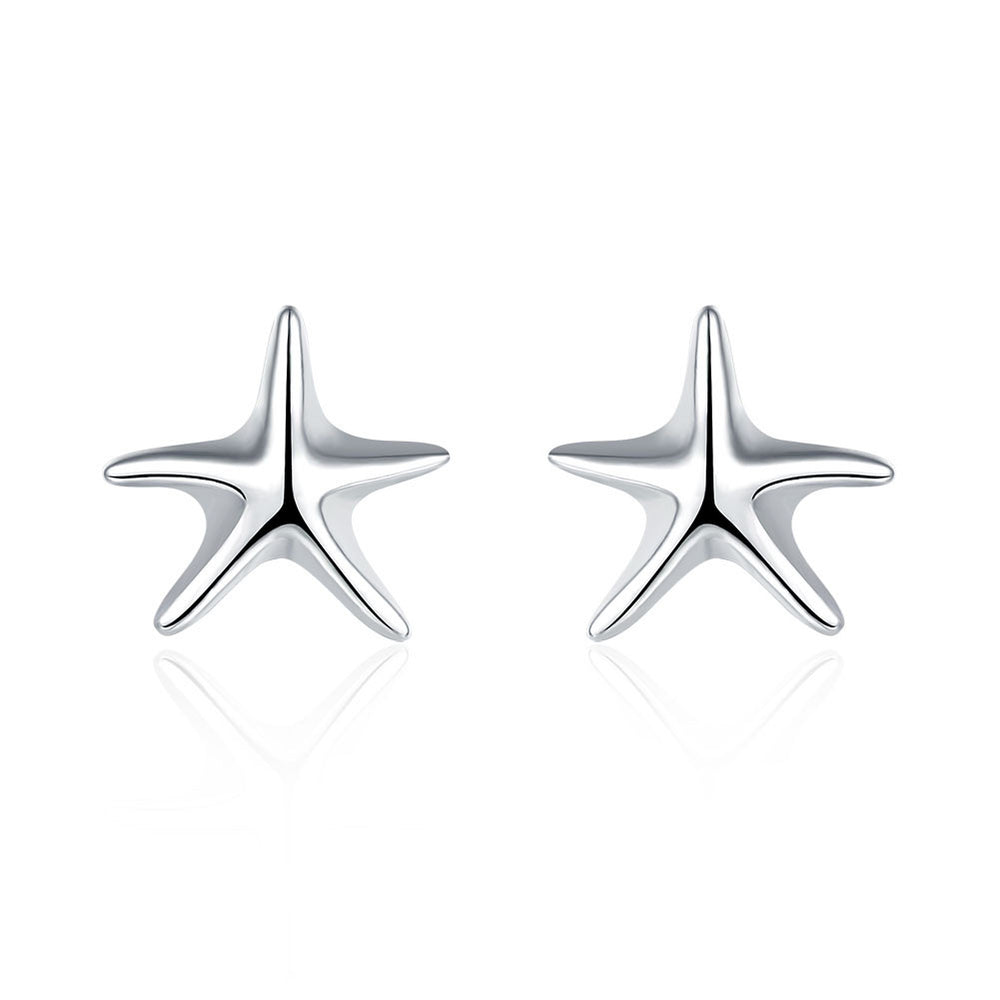 Earring 18K White Gold Plated Classic Starfish Stud
