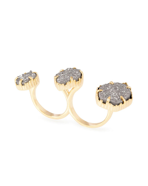 Knuckle Ring Yellow Gold Plated with Grey Druzy Stone