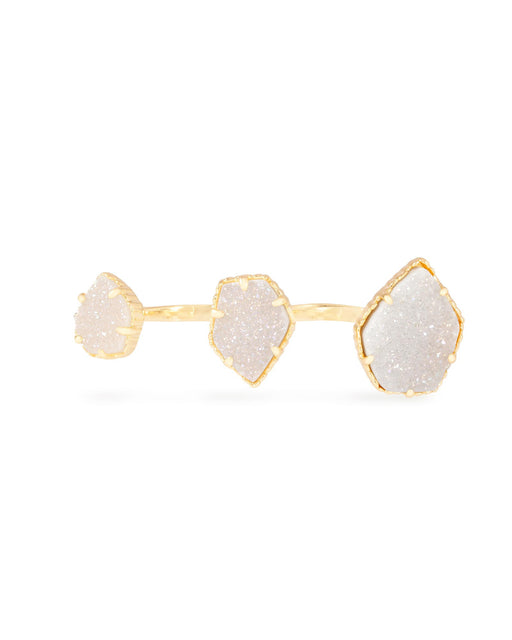 Knuckle Ring Yellow Gold Plated Plated with White Druzy Stone