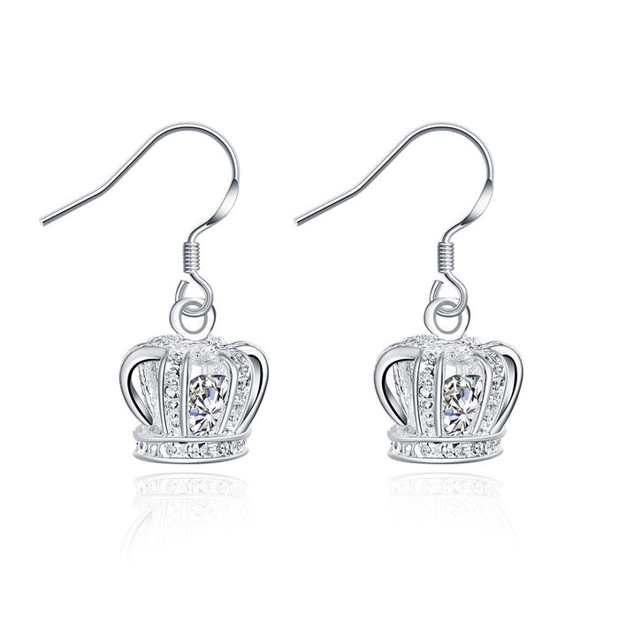 Earrings 18K White Gold Plated Crown Shaped Drop