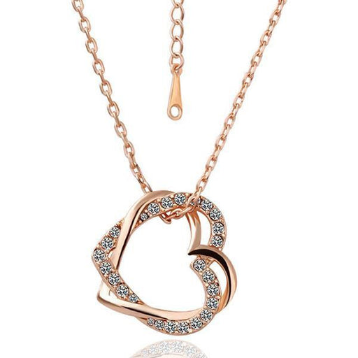 Necklace Rose Gold Plated Heart Crystal Inlay