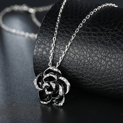 Necklace White Gold Plated Large Onyx Rose Petal