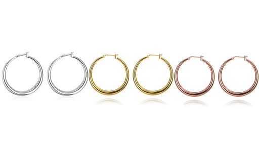 Earring Set 3 Pairs French Lock Gold Filled Hoop Earrings