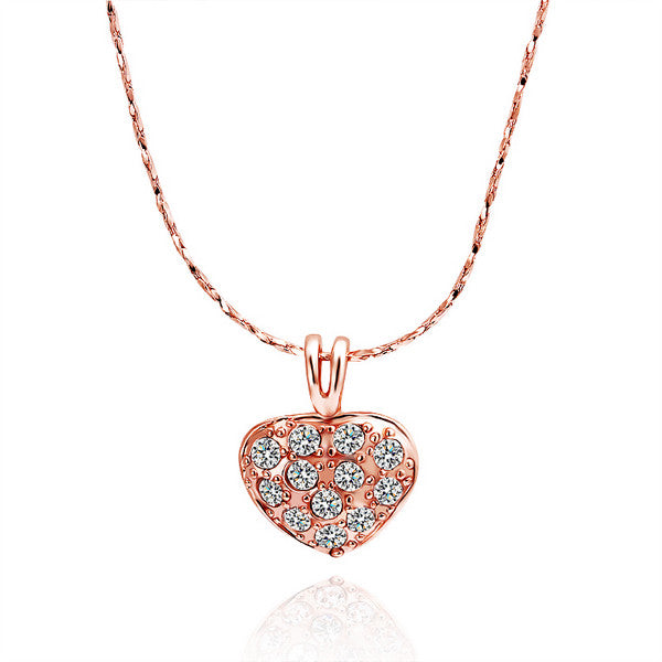 Necklace Rose Gold Plated Petite Sized Heart Shaped Crystal Covering