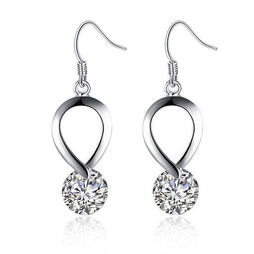 Earrings 18K White Gold Plated Crystal Loop