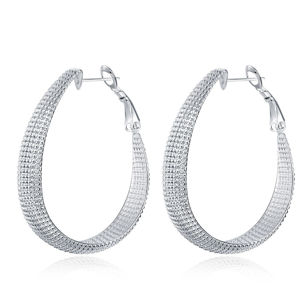 Earrings 18K White Gold Plated Beaded Mid-Size Hoops
