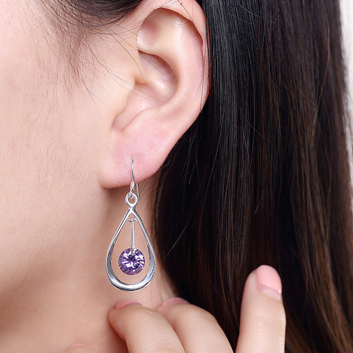 Earrings 18K White Gold Plated Purple Citrine Circular Drop