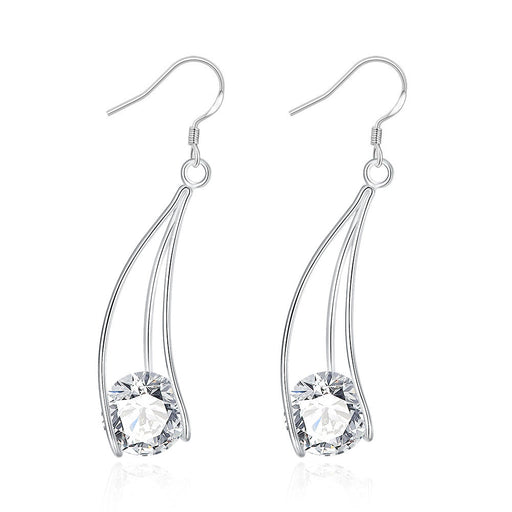 Earrings 18K White Gold Plated Drop Crystal