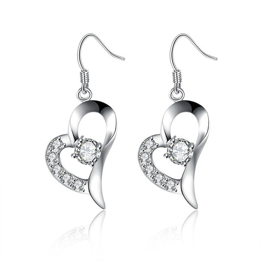 Earrings 18K White Gold Plated Curved Petite Heart