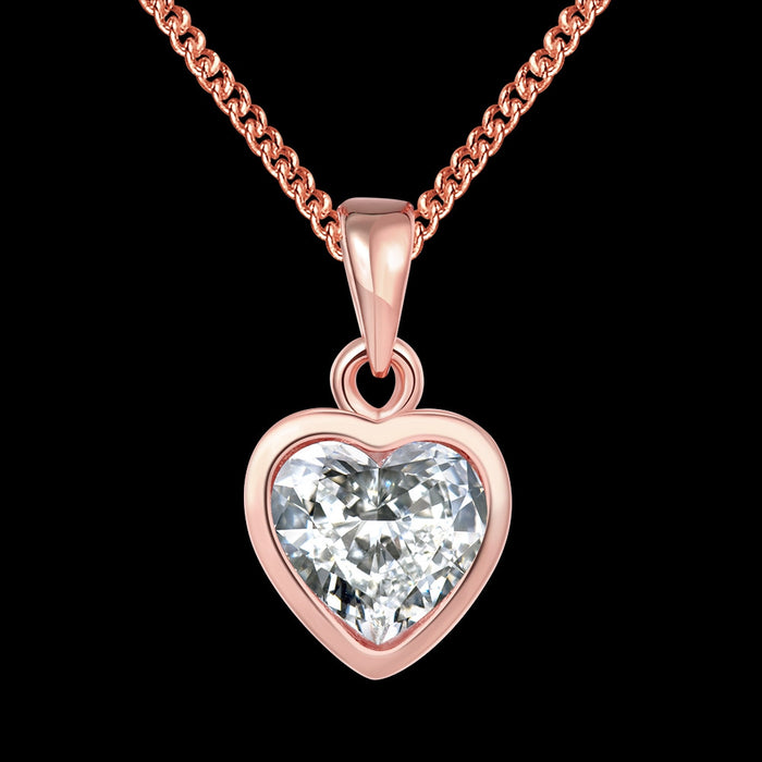 Necklace 18K Rose Gold Plated Pure White Heart