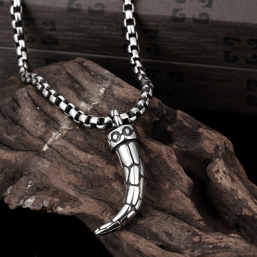 Mens Necklace Stainless Steel Sabretooth Tiger