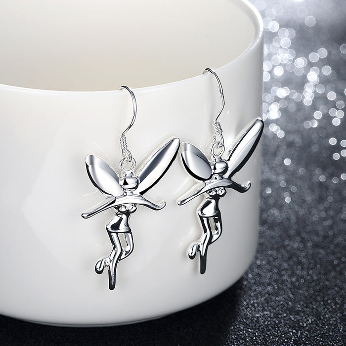 Earrings 18K White Gold Plated Drop Fairy