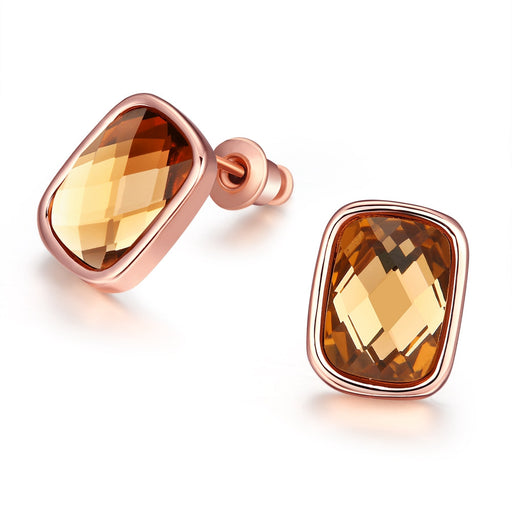 Earrings 18K Italian Rose Gold Citrine Gemstone Stud
