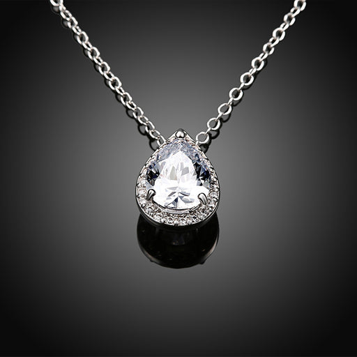 Necklace 18K Italian White Gold Plated White Topaz Teardrop