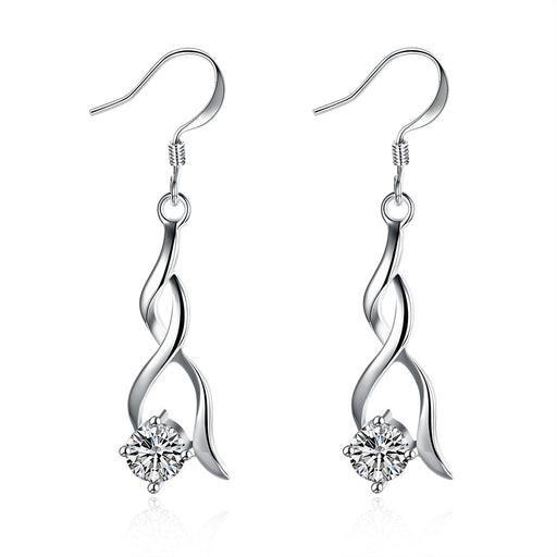 Earring 18K White Gold Plated Modern Spiral Drop