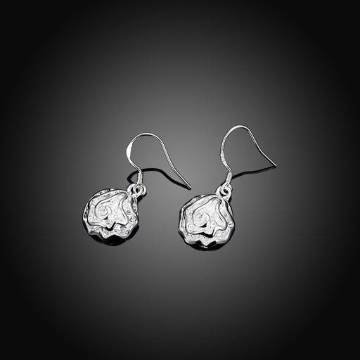 Earrings 18K White Gold Plated Drop Floral Bud