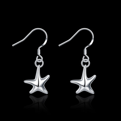 Earrings 18K White Gold Plated Five-Point Starfish