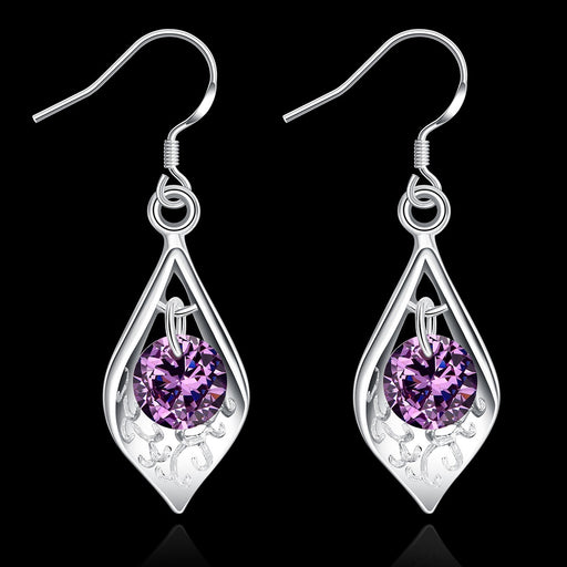 Earrings 18K White Gold Plated Purple Citrine Triangular Drop