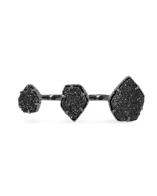 Knuckle Ring Black Gun Plated with Black Druzy Stone
