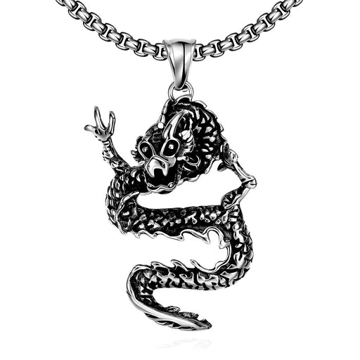 Mens Necklace Stainless Steel Dragon Pendant