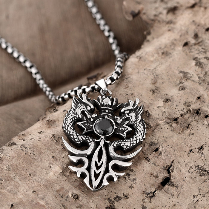 Mens Necklace Stainless Steel Double Dragon Emblem